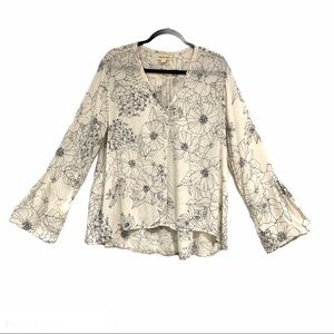 Anthro Cloth & Stone Daltry Bell Sleeve Blouse LG